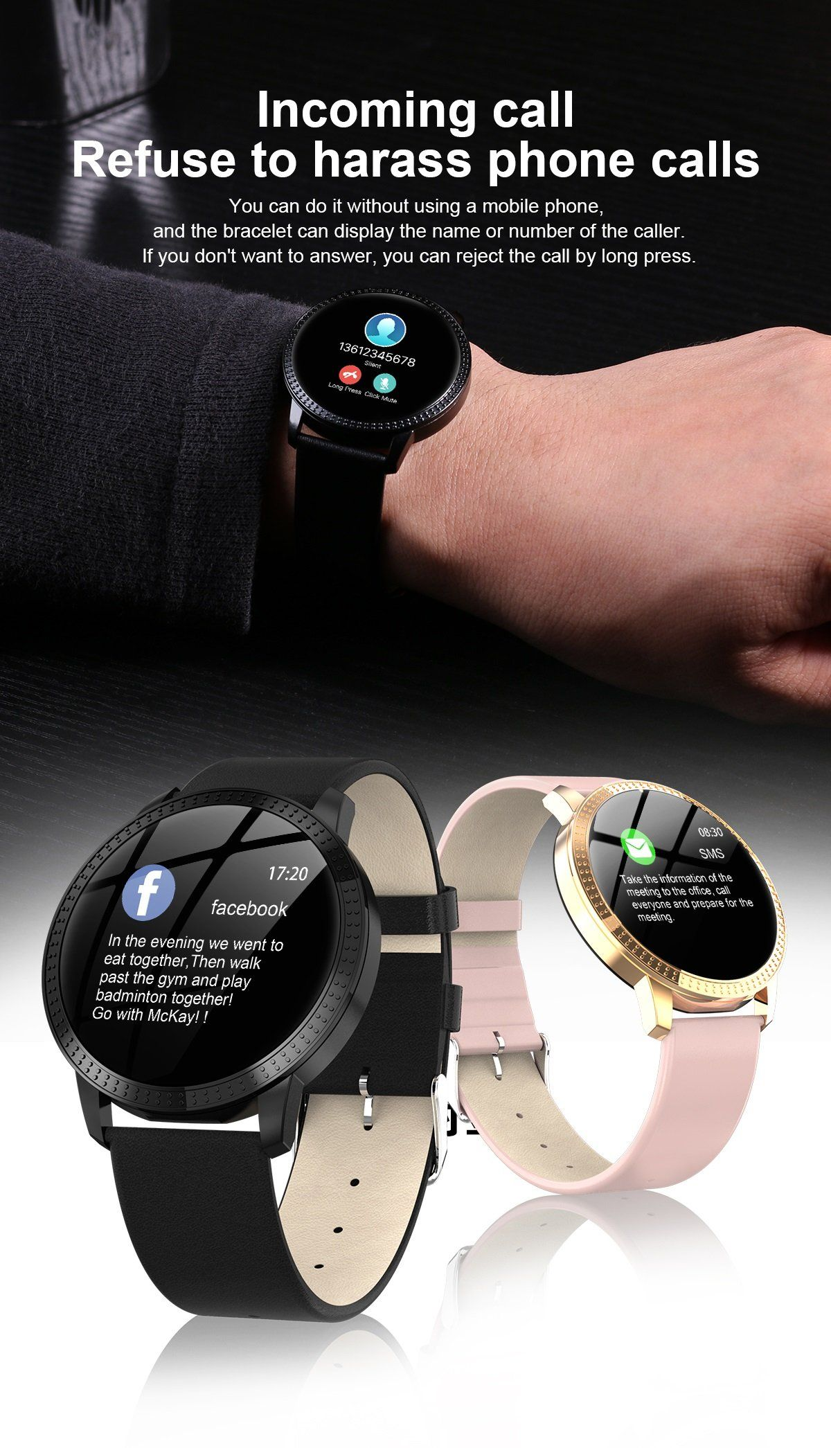 heart rate monitor bluetooth pedometer touch intelligent smartwatch