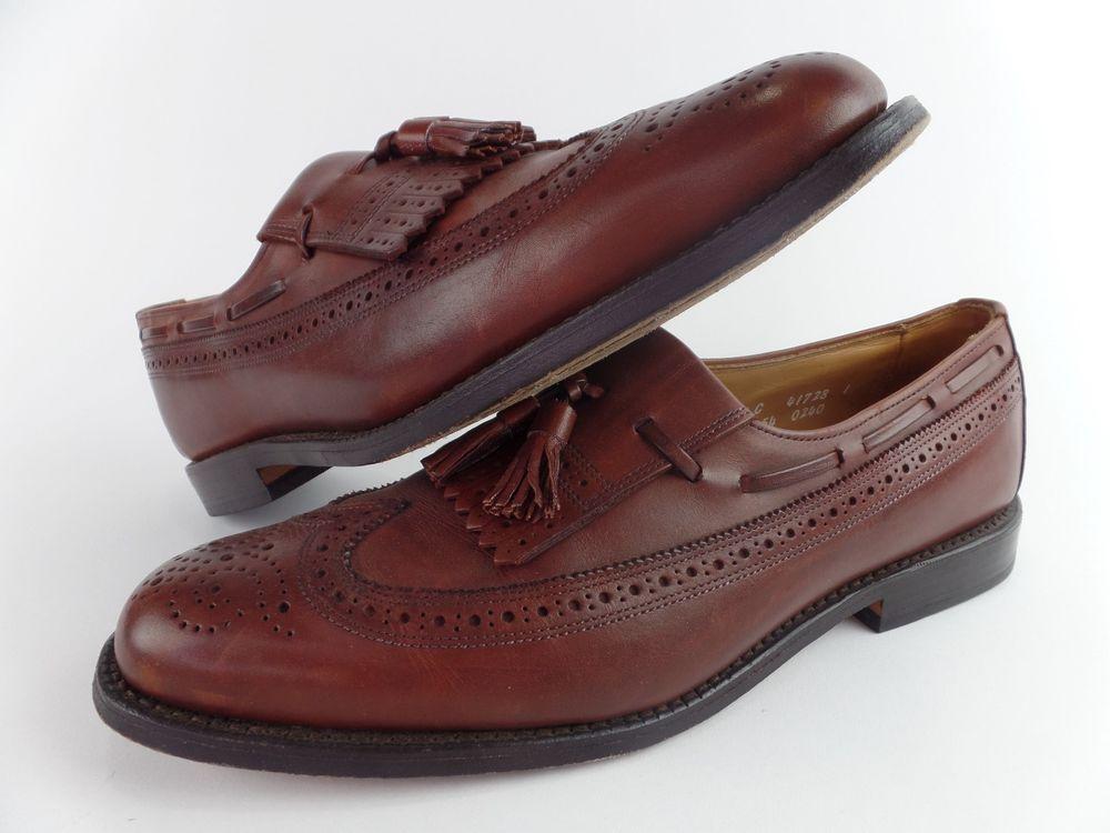 Allen Edmonds Mens Black & Brown Kiltie Loafers 10.5C