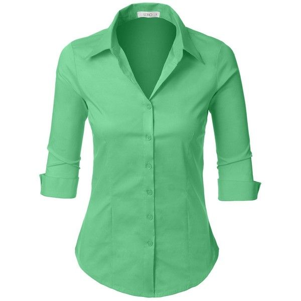 42a6f4ca172 LE3NO Womens Roll Up 3 4 Sleeve Button Down Shirt with Stretch ( 14) ❤  liked on Polyvore featuring tops