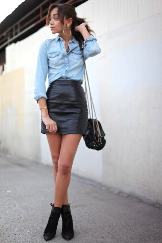I think I might try this outfit with my moms leather skirt from ...