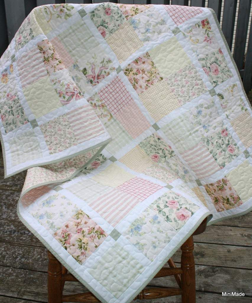 A variety of vintage sheets combined with great effect in this quilt ...