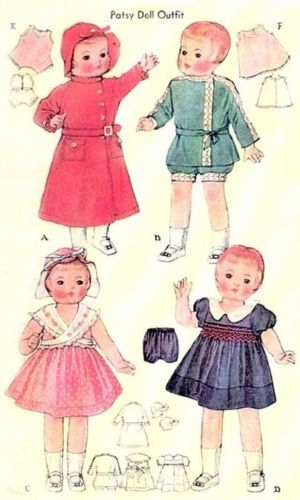 """Vintage Shirley Temple Patsy Doll Clothes Dress Pattern ~ 13/"""" 14/"""" Little Lady"""