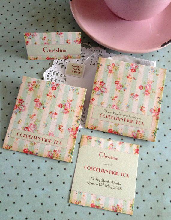 english rose set tea bag favor inc tea bag or invite envelope handmade set bridal shower high tea customized in 2018 wedding invite ideas pinterest