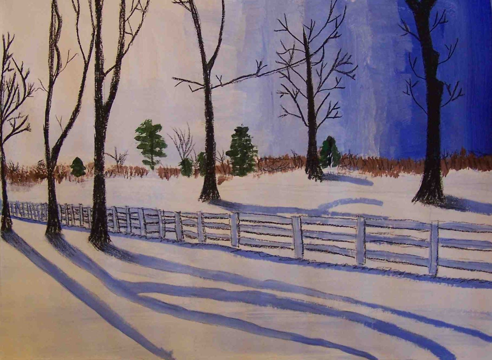 Create Art With Me Winter Tints Landscape Uses Tempera And Charcoal