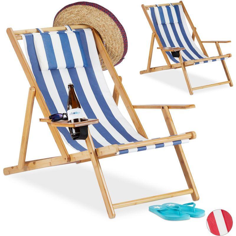 Chaise pliante lot de 2 en bambou tissu chaise de jardin