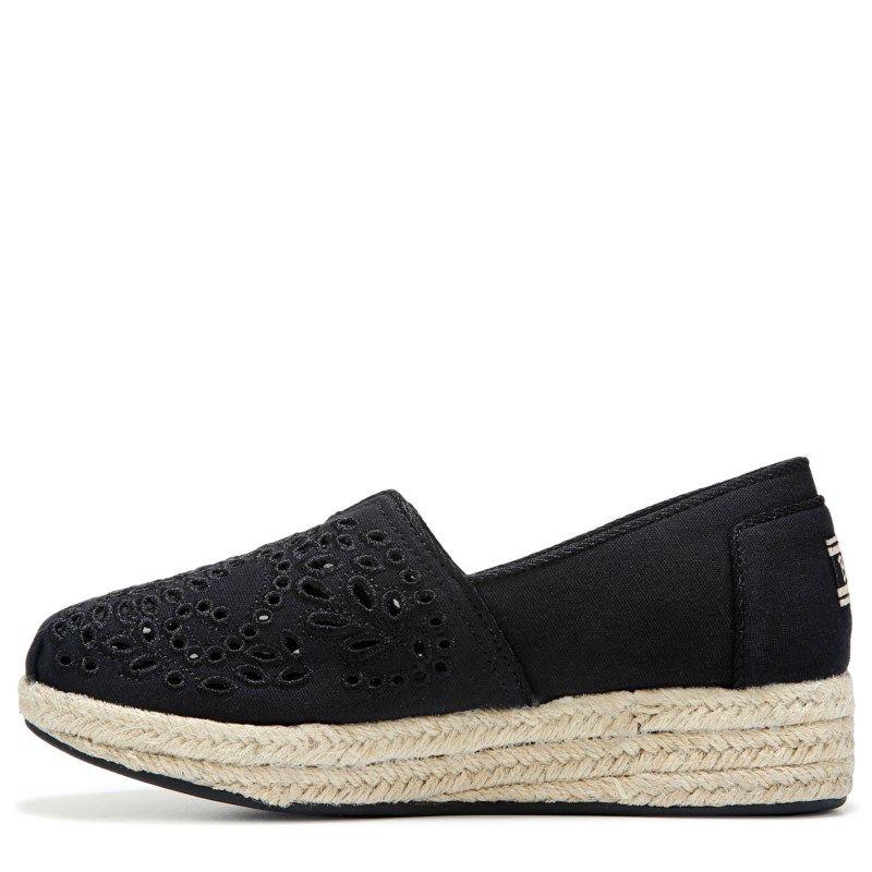 Skechers Women's Bobs Highlights Sun Flower Wedge Espadrille Shoes (Black)