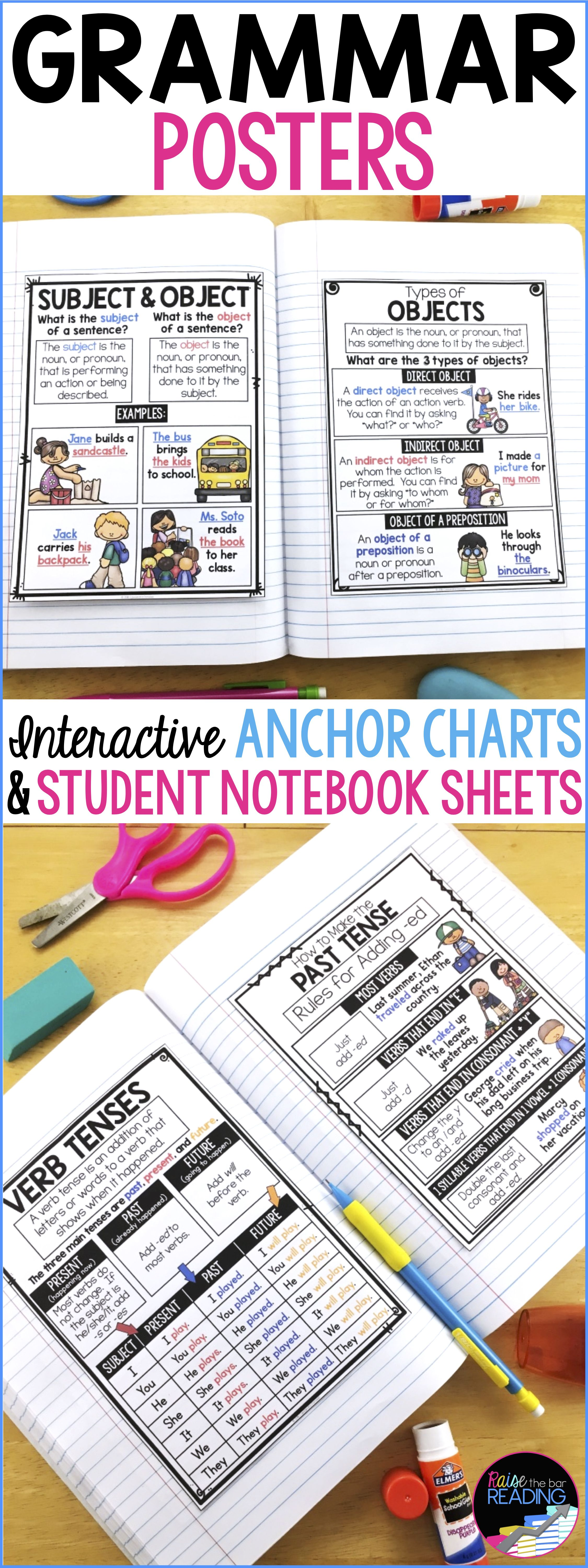 Grammar Posters Anchor Charts Amp Writer S Notebook Sheets