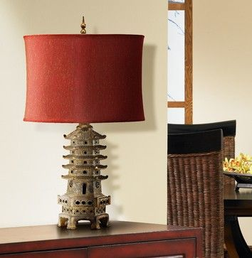 Asian Table Lamps Antique Gold Finish Asian Pagoda Table Lamp  Asian  Table Lamps
