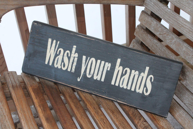 Bathroom wood sign wash your hands bathroom kitchen wall art