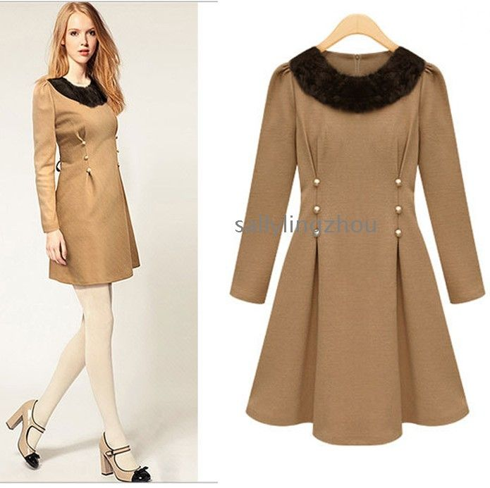 6750cd9ab6 Free shipping Fur Beaded wool dress for women