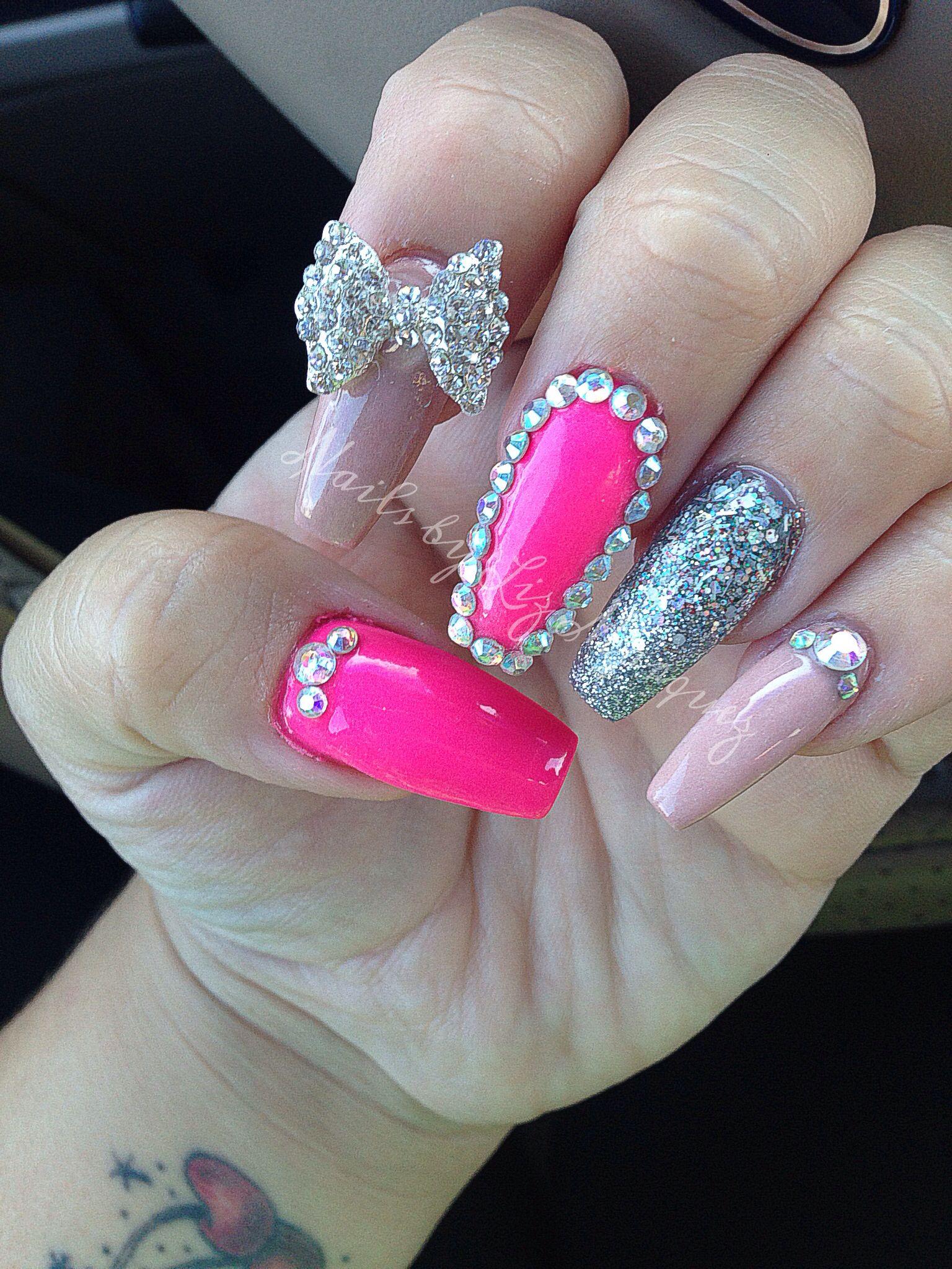 Coffin nails, nude nails, nail art, Swarovski nails, glitter nails ...