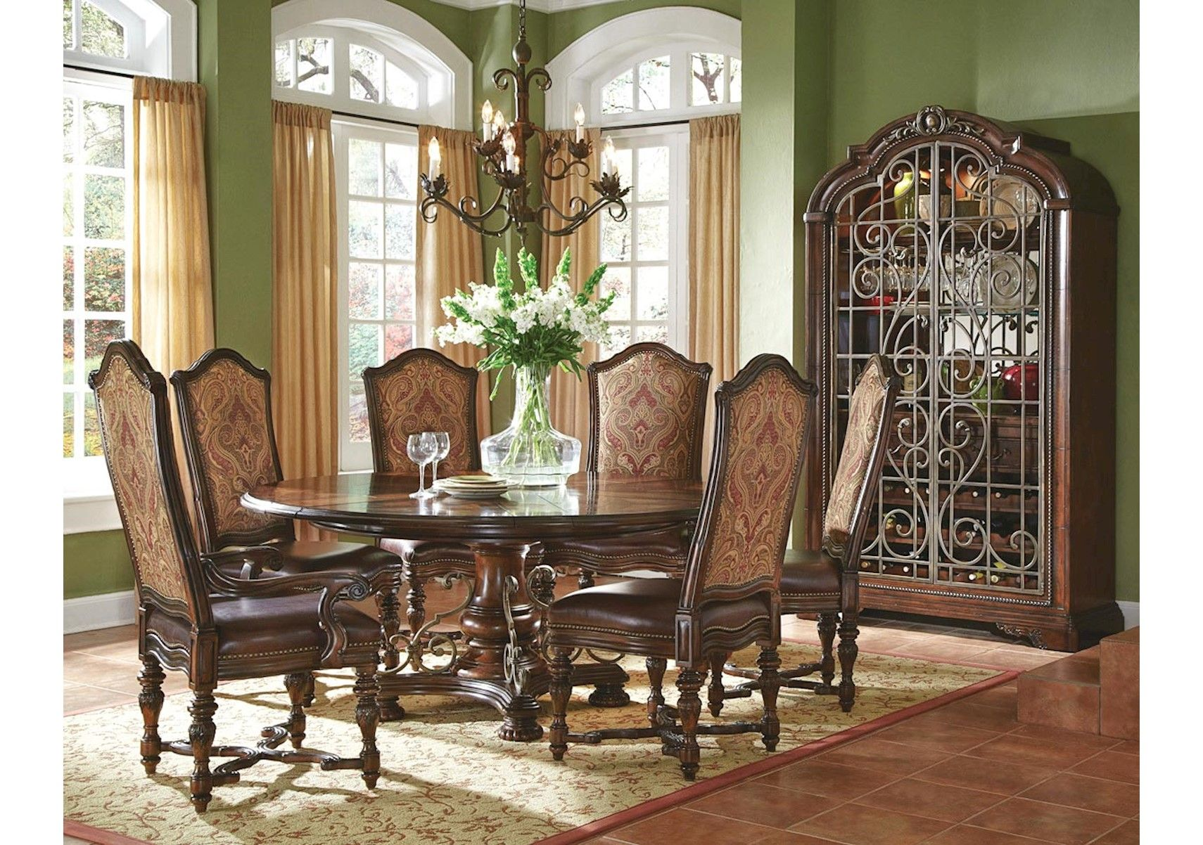 Lacks Valencia 7 Pc Round Dining Set Round Dining Table Sets
