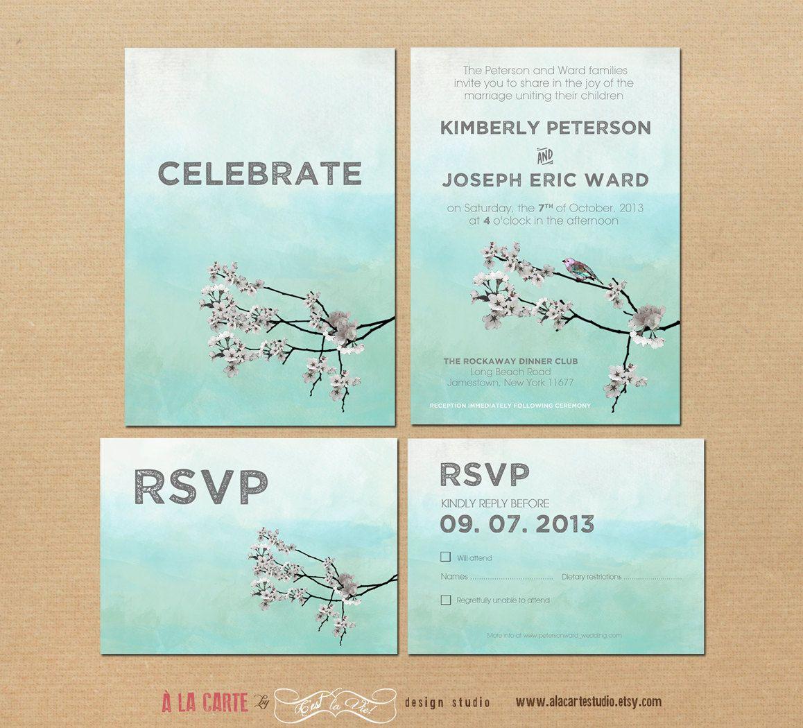 Watercolor Bird and Branch Design Wedding Invitation Suite ...
