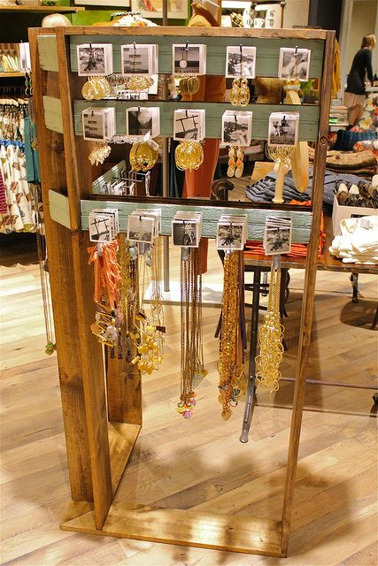 Anthropologie's jewelry displays are a good starting point for creating your own custom, freestanding displays.  Easy to make in a weekend with some standard tools and stain/paint.