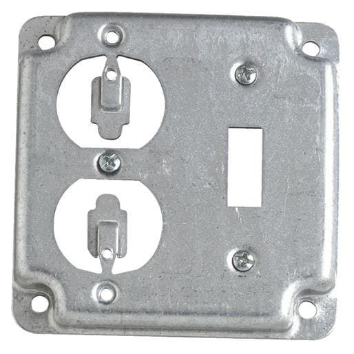Thomas Betts 4sq Switch Outlet Cover Rs230 Unit Each Silver Steel Products Metal Electrical Box Covered Boxes Conduit Box