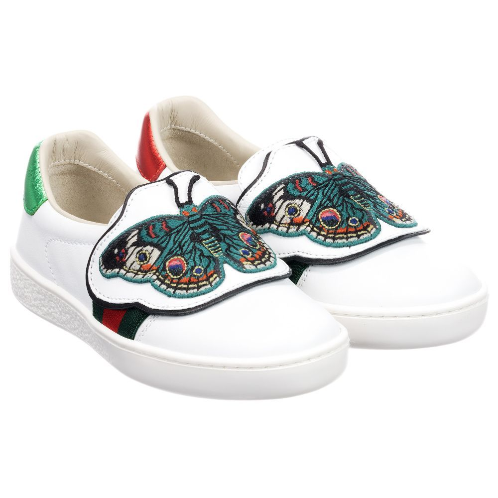 00c776fe86f White  Ace  Butterfly Sneaker for Girl by Gucci.