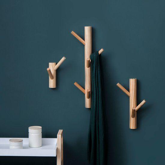 Boom Wand Kapstok Met Twee Haken, Maat S, Afmeting: L13xH16 cm, Naturel #halinrichting