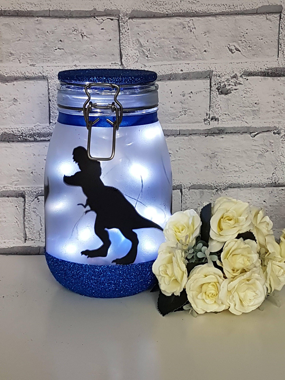 Dinosaur Night Light, T-rex lamp, Large Fairy Light Up Jar, Dinosaur Lamp, Dinosaur Light, Dinosaur Decor, Dinosaur Nursery Decor