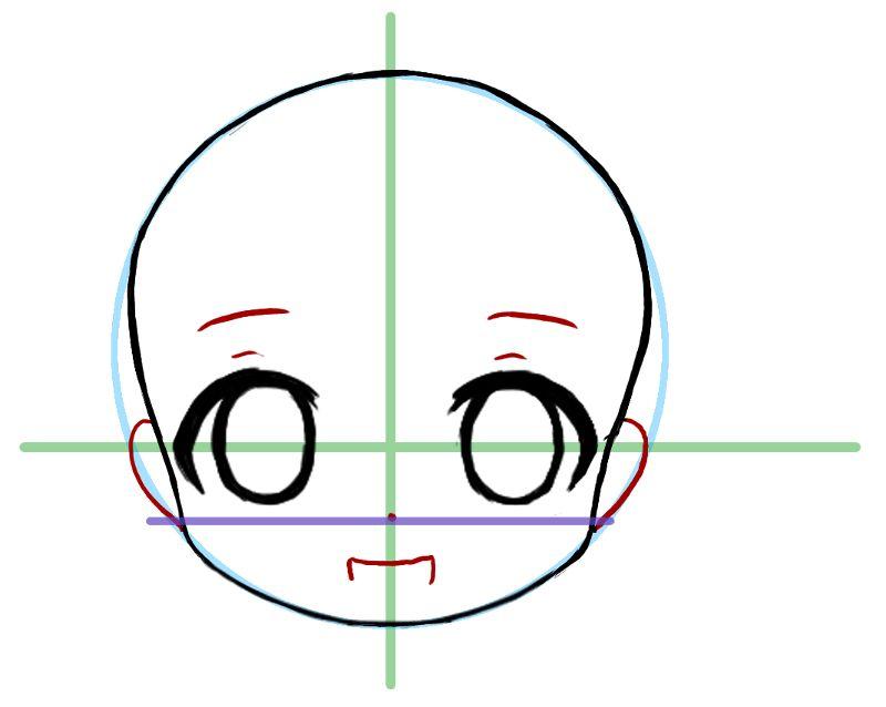 tutoriel manga comment dessiner le visage de face d 39 un chibi sekai 39 s blog dessin. Black Bedroom Furniture Sets. Home Design Ideas