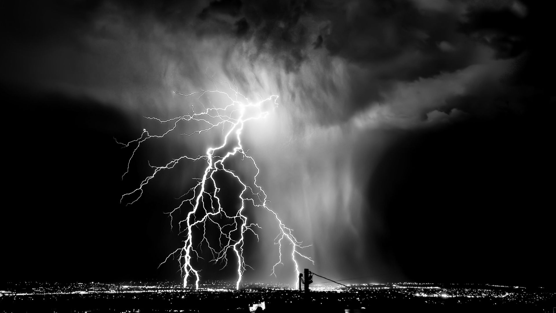 Lightning storm rain clouds sky nature thunderstorm
