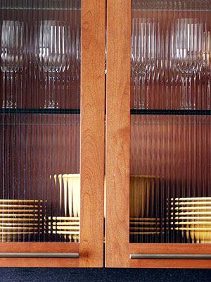 Oak Reeded Glass Cabinet Door W Modern Pulls Hutch Pinterest