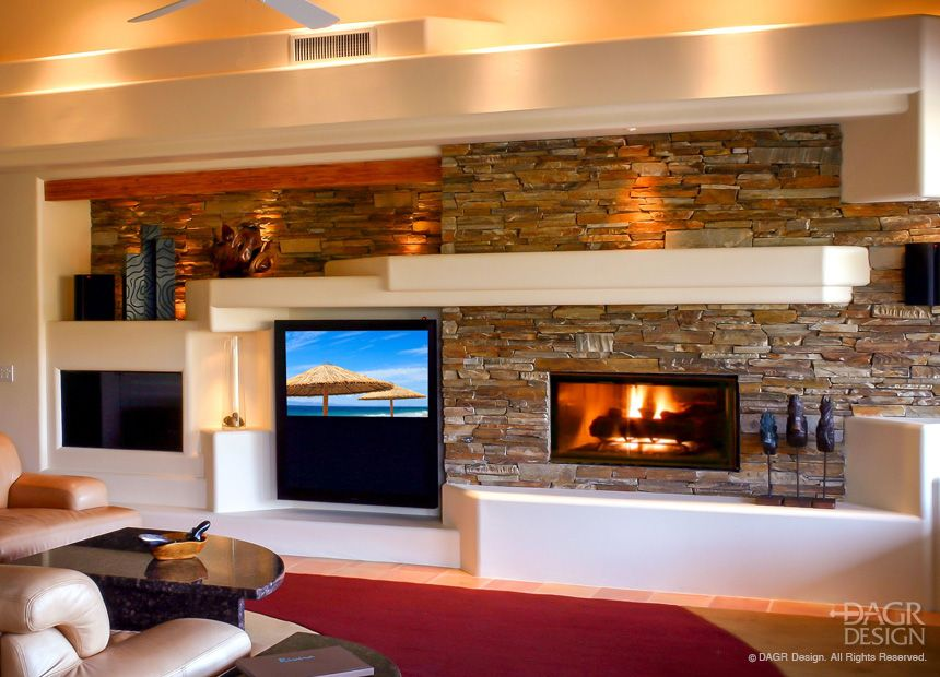 Modern Design Home Media Entertainment Center With Large Screen Tv Gas Fireplace Stacked Stone And Accent Lighting