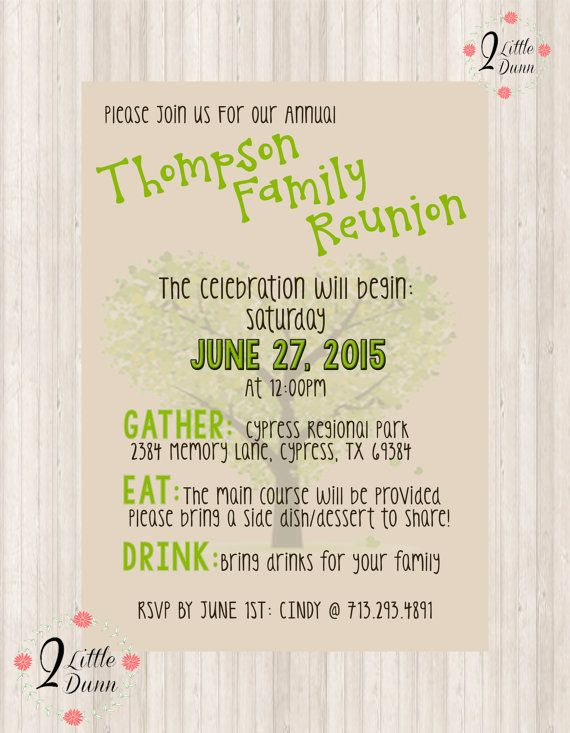 Family Reunion Invite Printable Digital Invitation By 2Littledunn