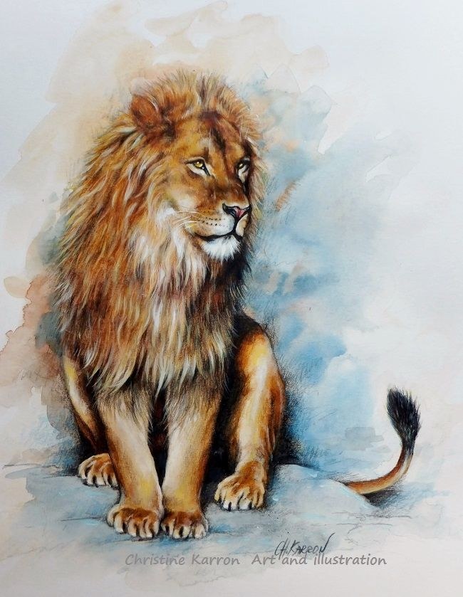 On The Watch Lion Mixed Media Pencil Watercolor Colored