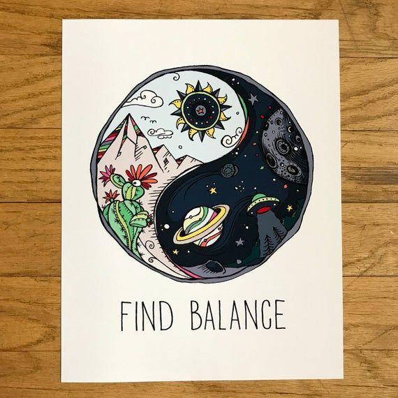 Yin Yang, ying yang, Color, Cactus, Deja que esa mierda vaya, Encuentra Equilibrio, OVNI, Zen, Espacio, Luna