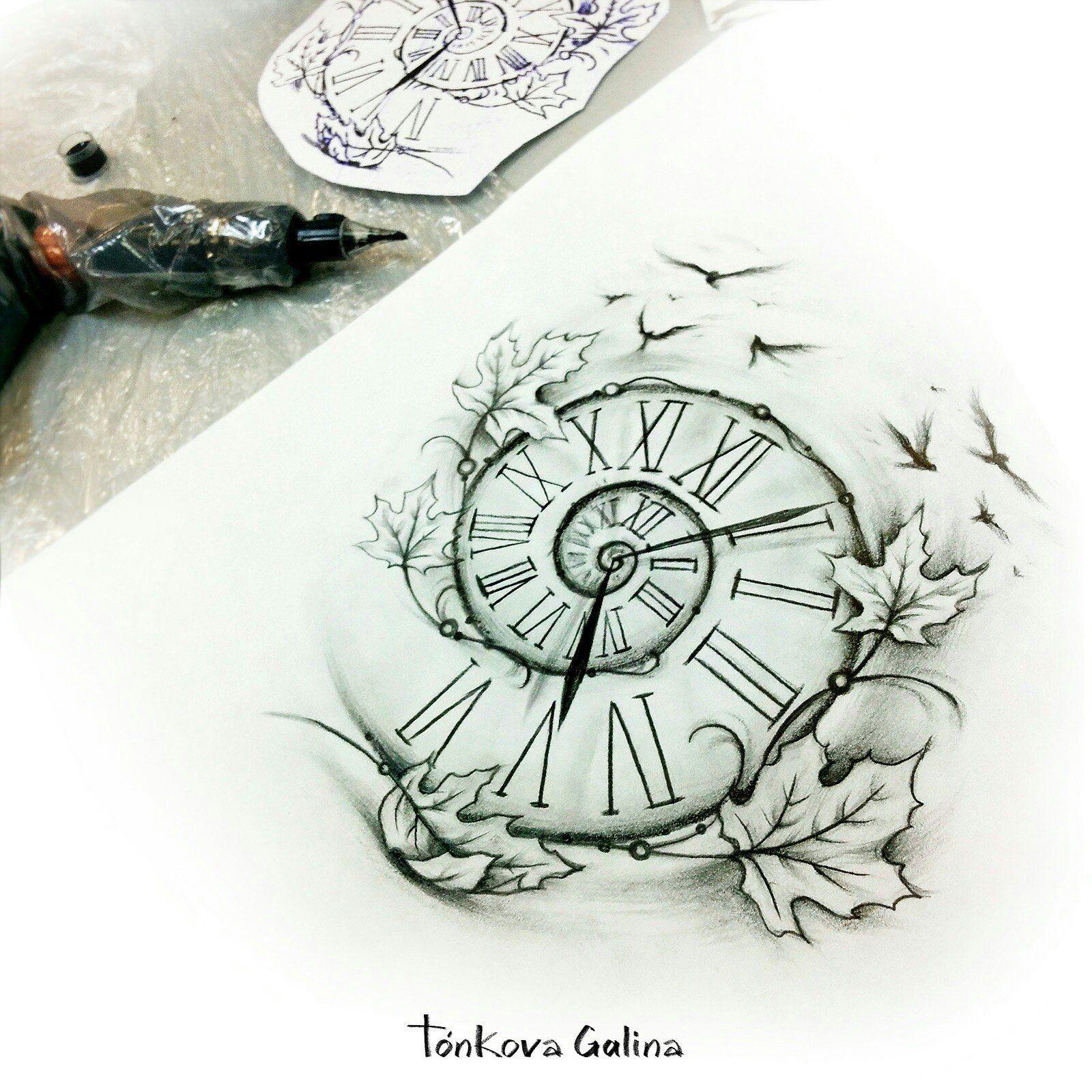 Regarder Tatouage Sur Illustrations Croquis Sur Papier Par Galina Tonkova In 2020 Watch Tattoos Tattoos Pocket Watch Tattoos