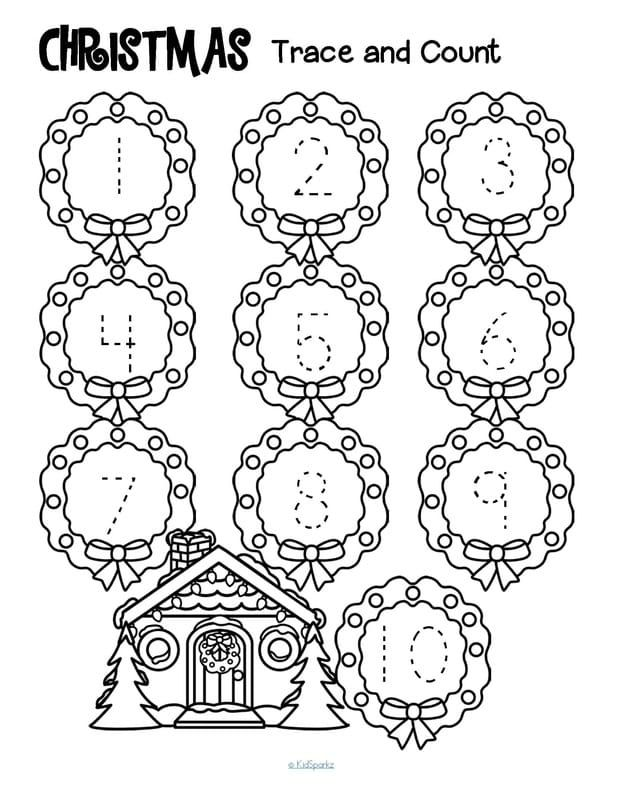 FREE*** 3 Christmas-themed tracing and counting. Count the sets ...