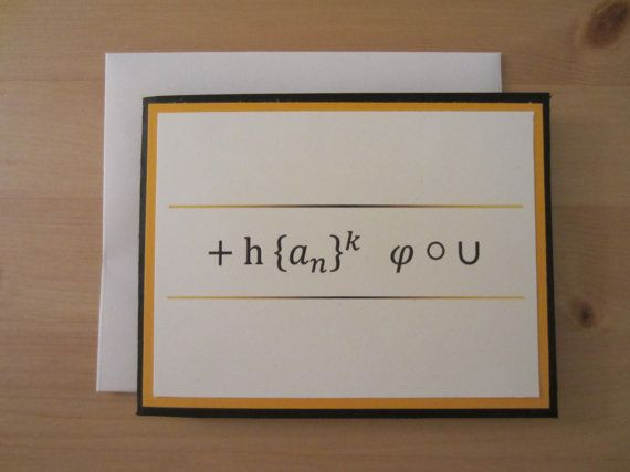 Math themed Thank You Card | Math and Physics Education | Teacher