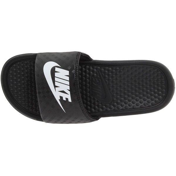 6bedb913b83f Nike Benassi JDI Slide (Black White) Women s Sandals ( 20) ❤ liked on  Polyvore featuring shoes