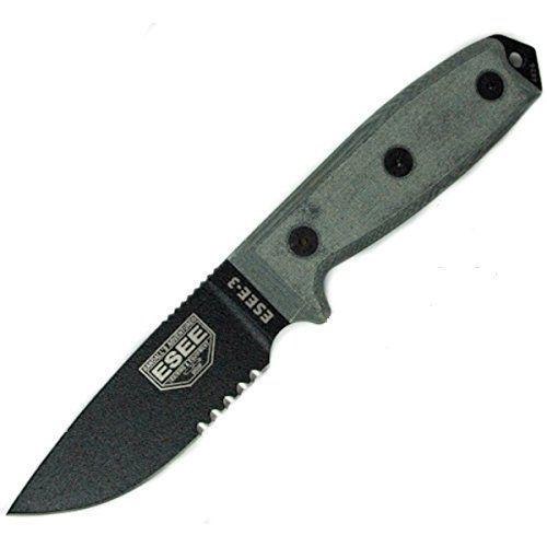 Ontario Rat 5 Tan Handle W Sheath: ESEE -3 Serrated Edge Black Blades With Micarta Handles