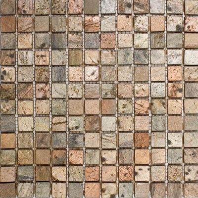 1 X 1 Slate Mosaic Tile In Copper Metal Mosaic Tiles Mosaic Tiles Stone Mosaic Tile