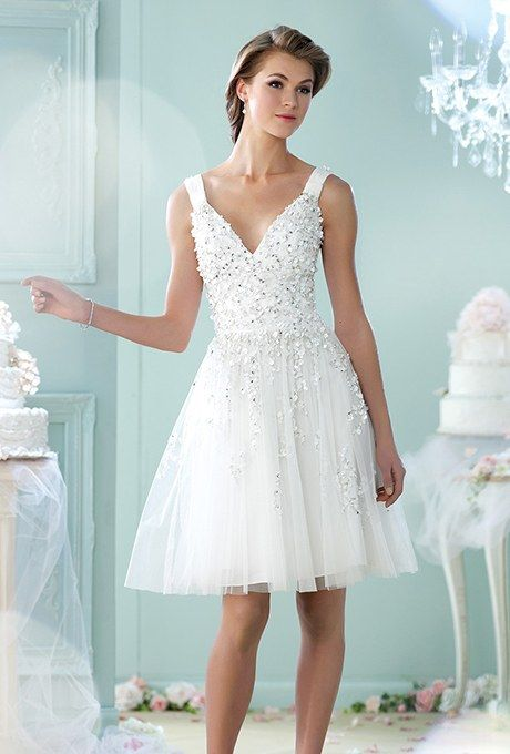 Style 215104, sleeveless tulle A-line dress with V-neckline, price ...