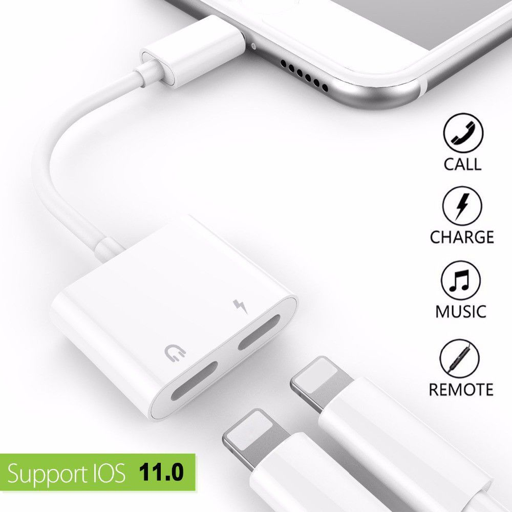 huge selection of f02f7 216c8 iPhone x 8 7 Lightning Charging Charger Cord Splitter AUX Audio ...