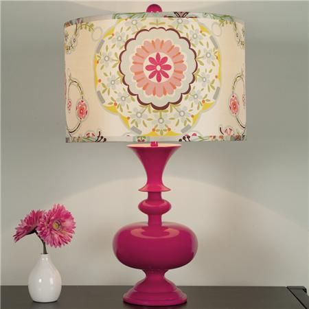 Fun for a girls room!  Modern Spindle Table Lamp in Fuchsia!