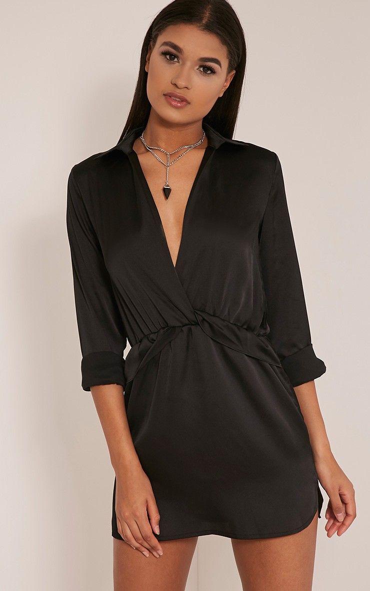Katalea Black Twist Front Silky Shirt Dress Pretty Little Thing 9qIHeWe