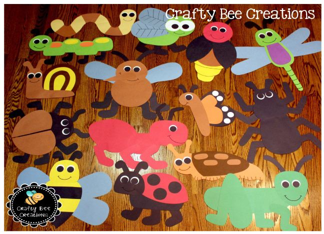 Insect Cut and Paste Set that includes 15 different bug patterns - copy coloring pages of school buildings
