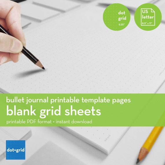 Blank Grid Sheets | Bullet Journal Printable Template | Dot Grid