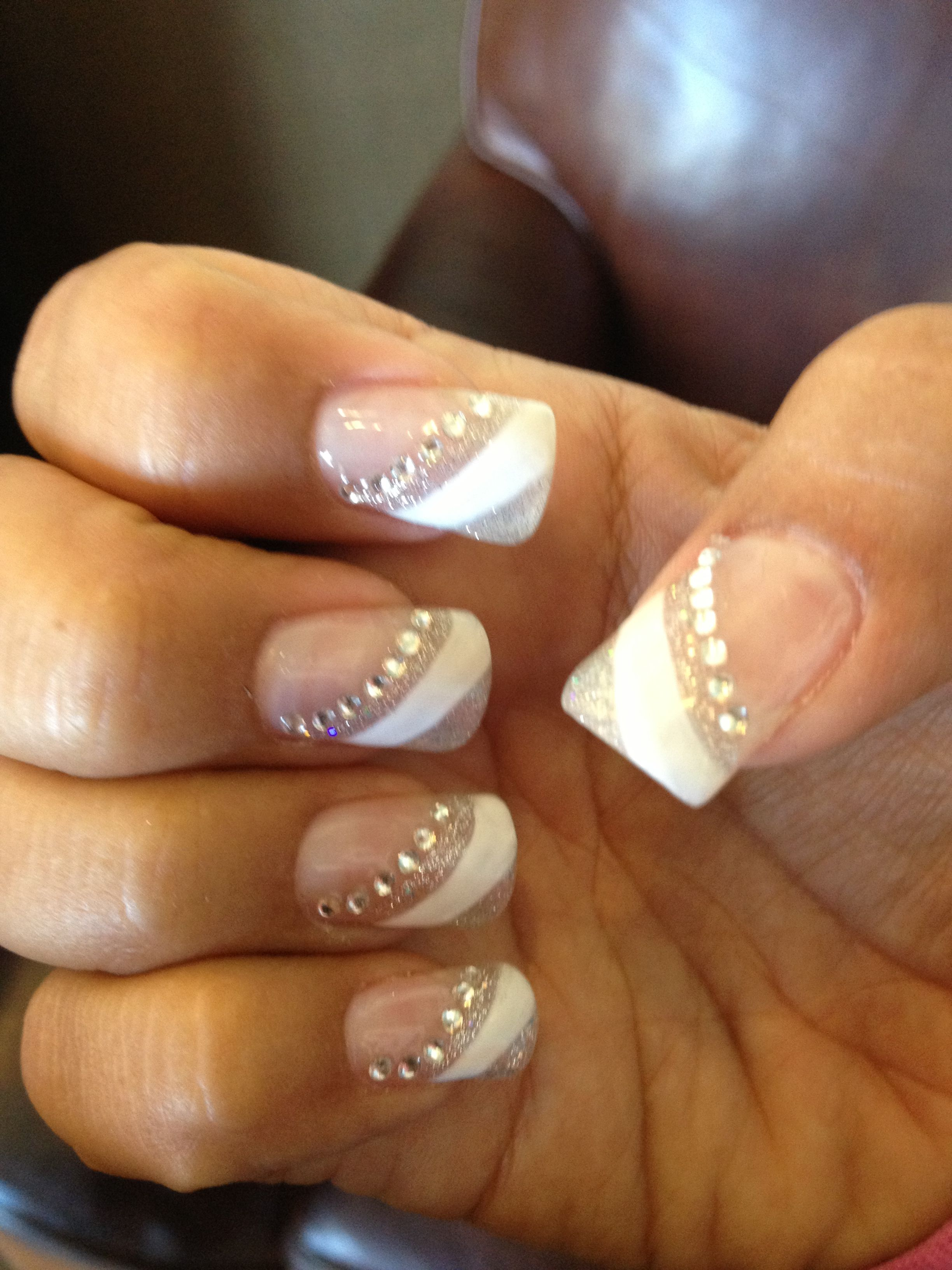 Pin By Kimberly Medeiros On Nails Rhinestone Nails French Manicure Prom Nails French