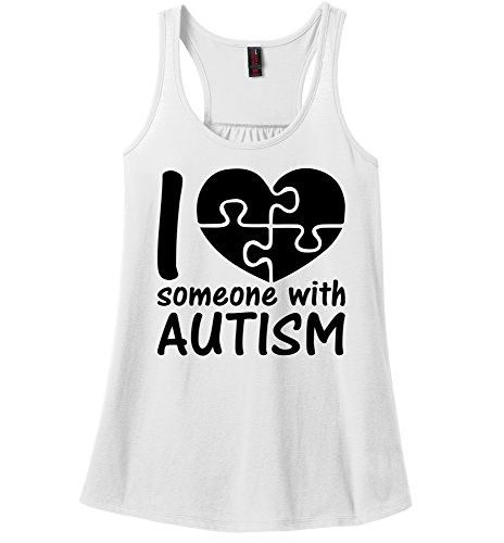 Comical Shirt Ladies I Love Someone With Autism Shirt Ladies Soft Tee White M, Women's, Size: Medium