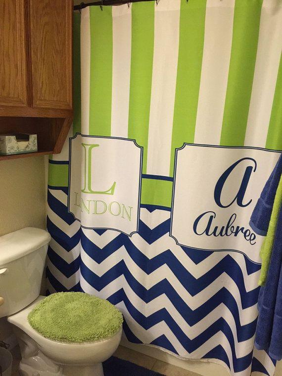 Custom Monogramed Shower Curtain