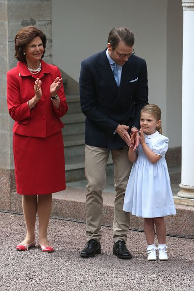 Queen Silvia of Sweden Prince Daniel of Sweden and Princess Estelle of Sweden arrive for Birthday celebrations of Crown Princess Victoria of Sweden...