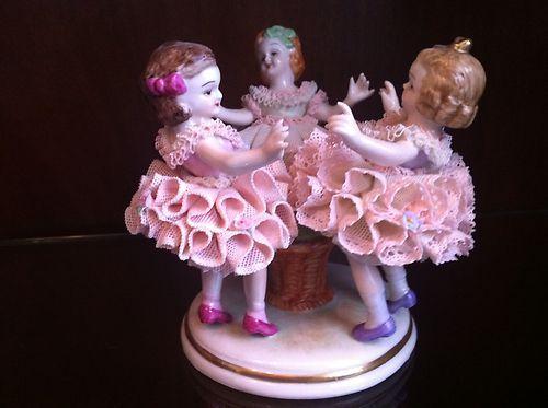 Irish Dresden porcelain figurine Ring a Round a Rosie