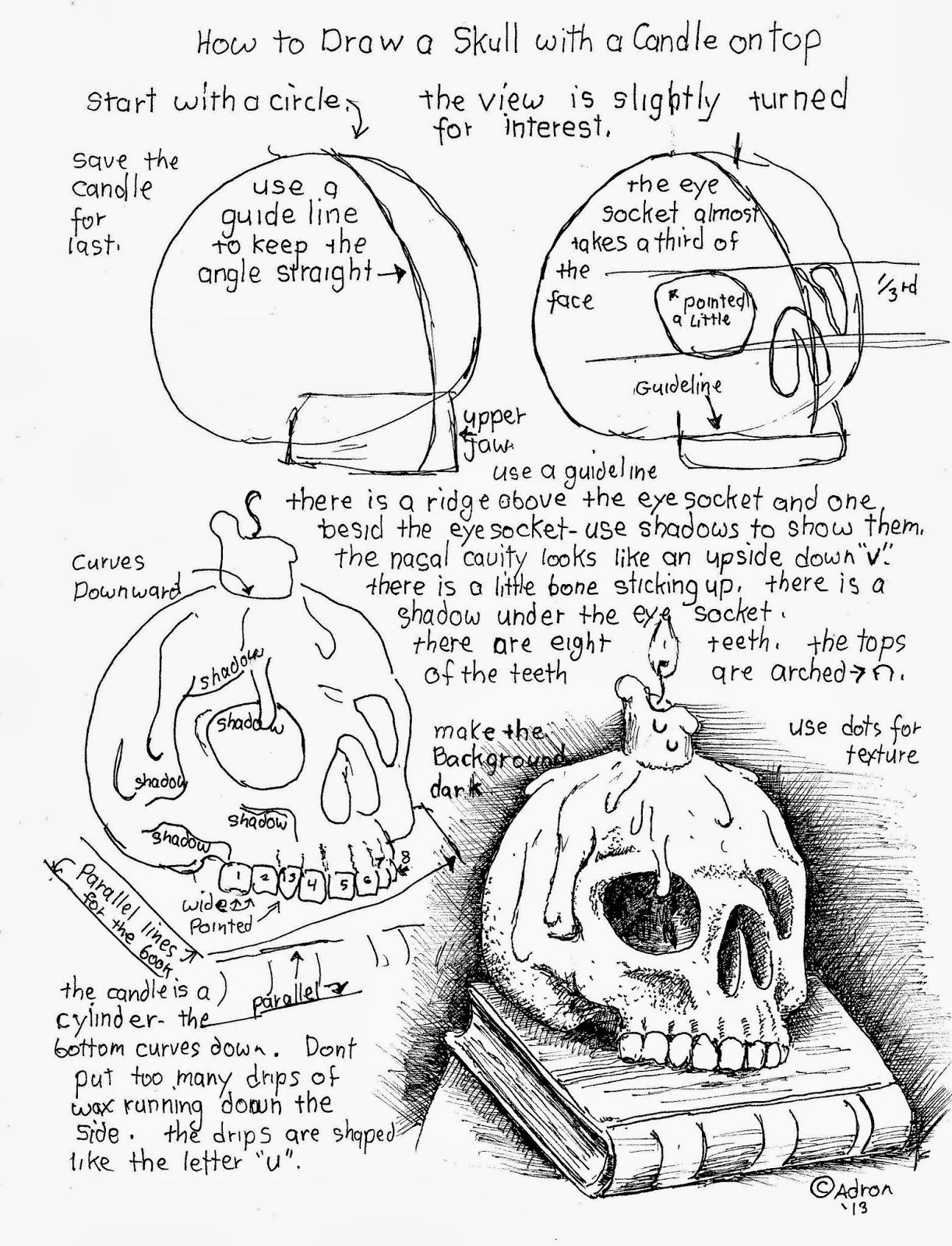 Free How To Draw A Skull With A Candle On Top Worksheet