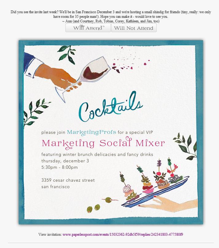 MarketingProfs Social Mixer event email invitation – Email Invitation