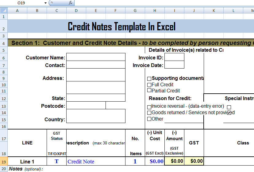 Credit Notes Template in MS Excel Format | ExcelTemple | Excel ...