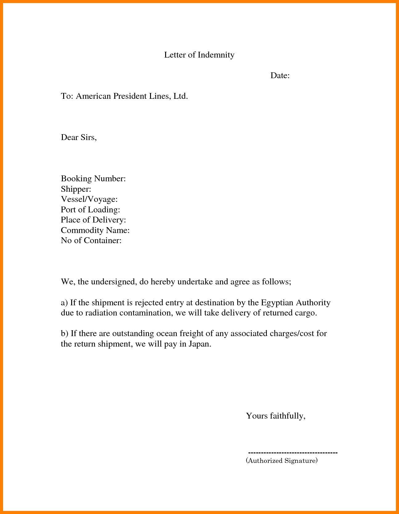 Valid Letter Of Indemnity For Bank Lettering Letter Sample